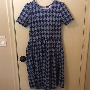 Geometric Blue LuLaRoe Amelia Pocket Dress - Large